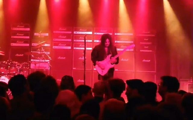 Swedish guitar icon Yngwie Malmsteen performs in Tel Aviv on September 12, 2018. (Screen capture: YouTube)
