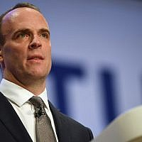 Britain's Secretary of State for Exiting the European Union (Brexit Minister) Dominic Raab gives a speech in the main hall on the second day of the Conservative Party Conference 2018 at the International Convention Center in Birmingham, on October 1, 2018. (Paul ELLIS/AFP)