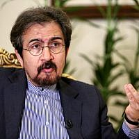 Bahram Ghasemi, Iran's foreign ministry spokesman, gives an interview with AFP in the capital Tehran on October 2, 2018. (AFP Photo/Atta Kenare)
