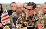 In this photo taken on September 12, 2018, Commander of United States Central Command Joseph Votel speaks during a meeting with the Gulf cooperation council's armed forces chiefs of staff in Kuwait City. (AFP PHOTO / Yasser Al-Zayyat)