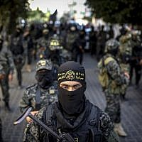 Members of the Iran-backed Palestinian Islamic Jihad terror group march, during a military parade in Gaza City, on October 4, 2018. (Anas Baba/AFP Photo)