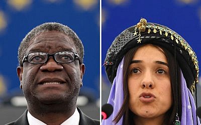 Nobel Peace Prize 2018 winners Congolese gynecologist Denis Mukwege, left, and Nadia Murad, public advocate for the Yazidi community in Iraq and survivor of sexual enslavement by the Islamic State jihadists. (AFP)