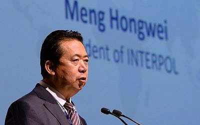 This photo taken on July 4, 2017, shows Meng Hongwei, president of Interpol, delivering an address at the opening of the Interpol World Congress in Singapore. (AFP PHOTO / ROSLAN RAHMAN)