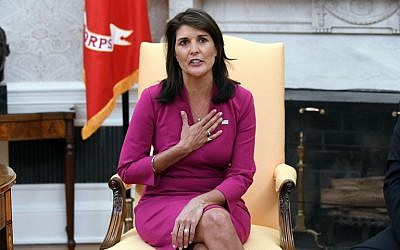 Nikki Haley, the United States ambassador to the United Nations, speaks during a meeting with US President Donald Trump in the Oval Office at the White House on October 9, 2018. (AFP Photo/Olivier Douliery)