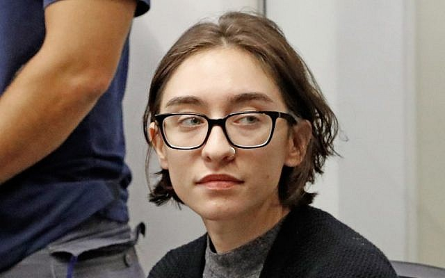 US student Lara Alqasem sits for a hearing at the Tel Aviv District Court on October 11, 2018 (Jack Guez/AFP)