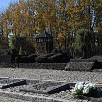 View taken on October 14, 2018. shows the monument commemorating victims of German-Nazi death camp in Auschwitz-Birkenau (Janek SKARZYNSKI / AFP)