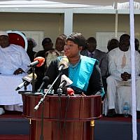International Criminal Court (ICC) chief prosecutor Fatou Bensouda delivers a speech at the Dune's Resort, in Kotu, near Banjul, on October 15, 2018. (Claire Bargeles/AFP)