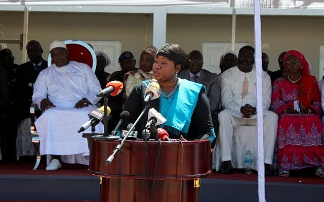 International Criminal Court (ICC) chief prosecutor Fatou Bensouda delivers a speech in Kotu, near Banjul, on October 15, 2018. (Claire Bargeles/AFP)