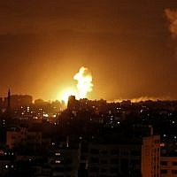 Illustrative. An explosion caused by an Israeli airstrike in Gaza City, on October 27, 2018. (Mahmud Hams/AFP)