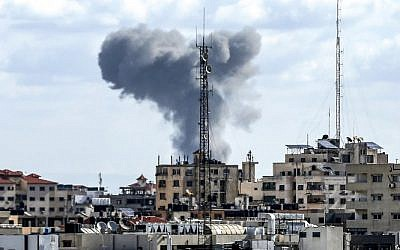 This picture from October 27, 2018, shows smoke rising after an Israeli airstrike in Gaza City. (Mahmud Hams/AFP)