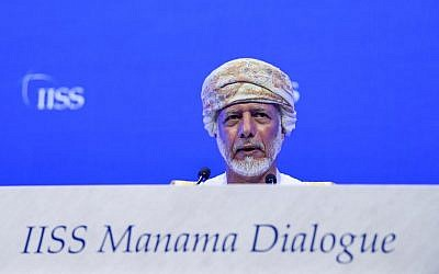 Yusuf bin Alawi, Oman's minister responsible for foreign affairs, addresses the 14th International Institute for Strategic Studies (IISS) Manama Dialogue in the Bahraini capital Manama on October 27, 2018. (Photo by STR / AFP)