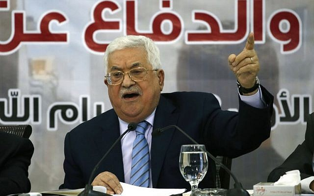 Palestinian Authority President Mahmoud Abbas speaks, during a meeting with the Palestinian Central Council in the West Bank city of Ramallah on October 28, 2018. (ABBAS MOMANI / AFP)