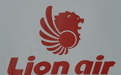 This file picture taken on March 18, 2013 shows the logo for Lion Air, Indonesia's largest private carrier, displayed in Jakarta. (Photo by Adek BERRY / AFP)