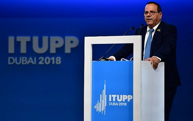 Communications Minister Ayoub Kara gives a speech at the International Telecommunication Union Plenipotentiary Conference in Dubai, United Arab Emirates, on October 30, 2018. (Stringer/AFP)