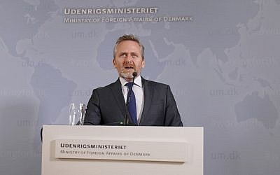 Danish Foreign Minister Anders Samuelsen gives a press conference in Copenhagen, on October 30, 2018. (Martin Sylvest/Ritzau Scanpix/AFP)