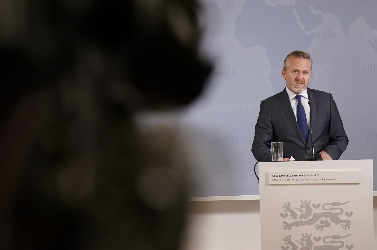 Danish Foreign Minister Anders Samuelsen gives a press conference in Copenhagen