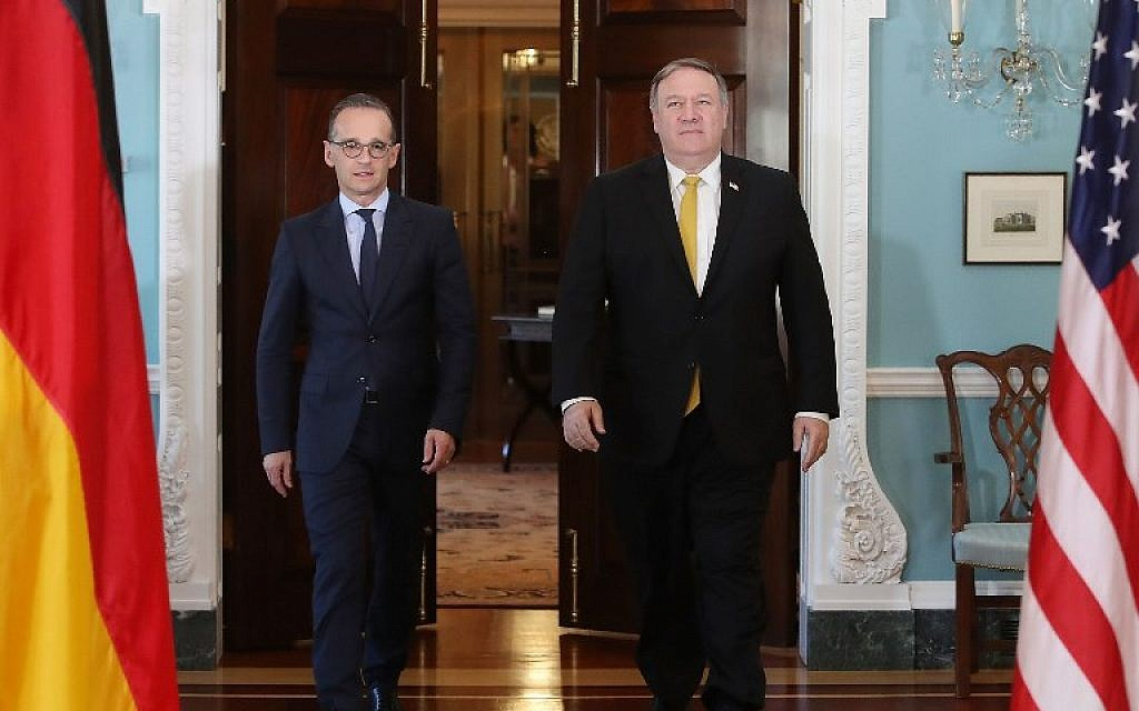 Secretary of State Mike Pompeo, right, meets with German Foreign Minister Heiko Maas, at the Department of State, on October 3, 2018 in Washington, DC. (Mark Wilson/Getty Images/AFP)