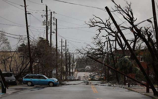 Downed powerlines are seen after hurricane Michael passed through the downtown area on October 10, 2018 in Panama City, Florida. The hurricane hit the Florida Panhandle as a category 4 storm.   (Joe Raedle/Getty Images/AFP)