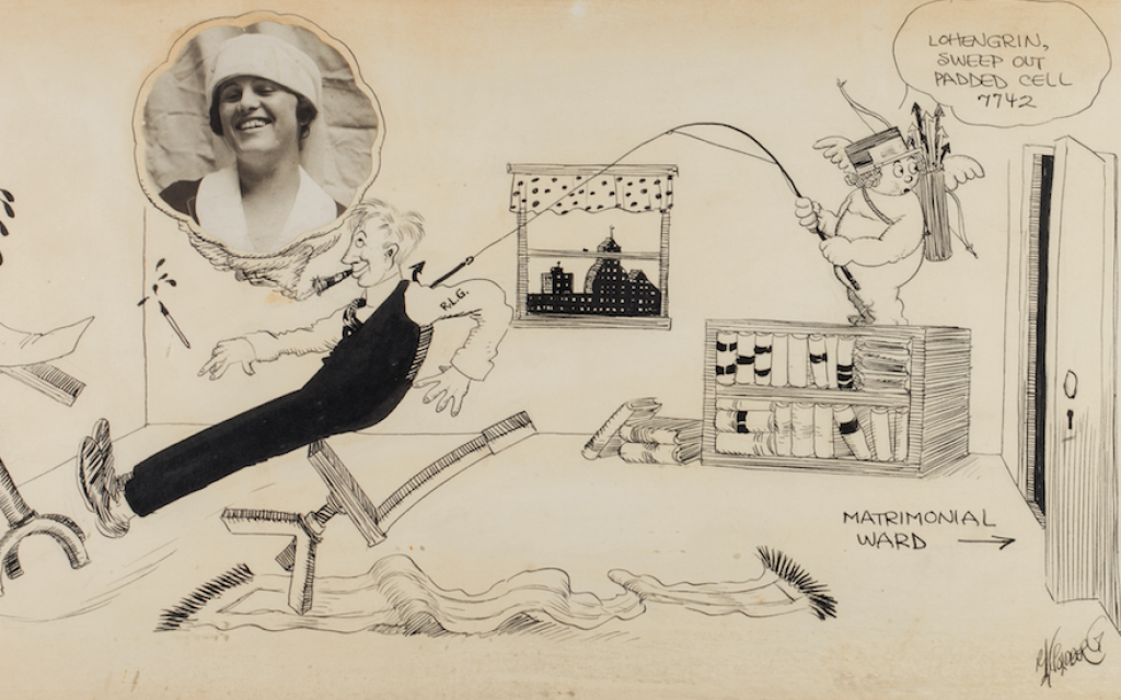 Rube Goldberg's cartoons were not all of complicated contraptions. Above is a collage he drew on the day of his 1916 wedding for his bride Irma. (Rube Goldberg Inc.)