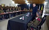 Defense Minister Avigdor Liberman meets with officers from the IDF's Southern Command on October 16, 2018. (Ariel Hermoni/Ministry of Defense)