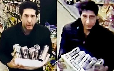 Actor David Schwimmer (L) and his lookalike suspected in a store theft (Screencapture)
