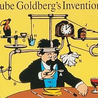 An iconic Rube Goldberg cartoon, featuring one of his signature contraptions (this one, a mustache wiper), was used on a US postal stamp in 1995. (Rube Goldberg Inc./via JTA)