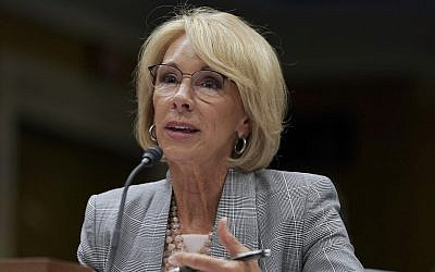 In this photo from June 5, 2018, Education Secretary Betsy DeVos testifies during a Senate Subcommittee on Labor, Health and Human Services, Education, and Related Agencies Appropriations hearing in Washington. (AP Photo/Carolyn Kaster, File)