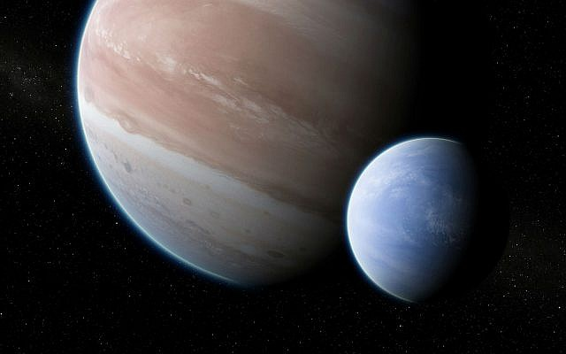 This illustration provided by Dan Durda shows the exoplanet Kepler-1625b with a hypothesized moon. On Thursday, Oct. 4, 2018, two Columbia University researchers reported their results that the potential exomoon would be the size of Neptune or Uranus. The exoplanet, about 8,000 light-years away, is as big as Jupiter. (Dan Durda via AP)