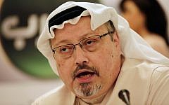 In this photo from February 1, 2015, Saudi journalist Jamal Khashoggi speaks at a press conference in Manama, Bahrain. (AP Photo/Hasan Jamali, File)