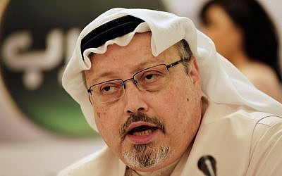 In this February 1, 2015, photo, Saudi journalist Jamal Khashoggi speaks during a press conference in Manama, Bahrain. (AP Photo/Hasan Jamali)