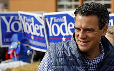 Rep. Kevin Yoder, R-Kan., talks to supporters during a parade in Overland Park, Kansas, September 29, 2018. (Charlie Riedel/AP)