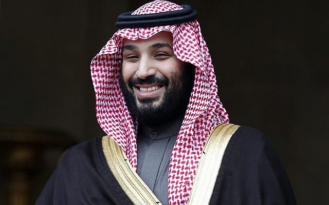 In this April 9, 2018 photo, Saudi Crown Prince Mohammed bin Salman is welcomed by French Prime Minister Edouard Philippe in Paris, France. (AP Photo/Francois Mori,)