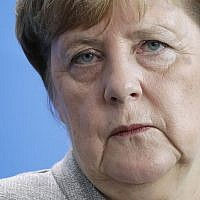 German Chancellor Angela Merkel attends a joint press conference as part of a meeting with Slovenia's Prime Minister Marjan Sarec at the chancellery in Berlin, Germany, October 12, 2018. (AP Photo/Michael Sohn)