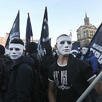 Members of nationalist movements attend a rally marking Defender of Ukraine Day, in Kiev, Ukraine, October 14, 2018. (Efrem Lukatsky/AP)