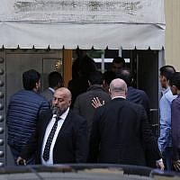 "Members of the inspection team enter Saudi Arabia's Consulate in Istanbul, Monday, Oct. 15, 2018. Turkey and Saudi Arabia are conducting a joint ""inspection"" on Monday of the consulate, where Saudi journalist Jamal Khashoggi went missing nearly two weeks ago, Turkish authorities said. (AP Photo/Petros Giannakouris)"
