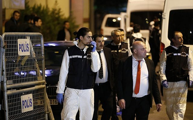 Turkish police officers arrive at the Saudi Arabia's Consulate in Istanbul, Turkey, on October 15, 2018. (AP Photo/Emrah Gurel)