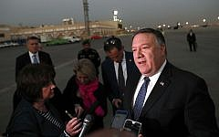 US Secretary of State Mike Pompeo talks to the media before leaving Riyadh, Saudi Arabia, October 17, 2018. (Leah Millis/Pool Photo via AP)