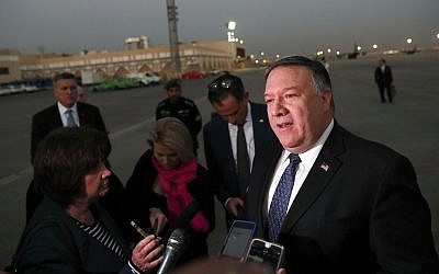 US Secretary of State Mike Pompeo talks to the media before leaving Riyadh, Saudi Arabia, October 17, 2018. (Leah Millis/Pool Photo via AP)