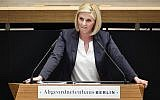Jessica Biessmann of the Alternative for Germany, AfD, speaking in the Berlin state parliament, May 31, 2018. (Gregor Fischer/dpa via AP)