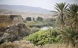The Jordan river can be seen in the Jordan valley area called Naharayim, or Baqura in Arabic, in northern Israel, October 22, 2018. (AP Photo/Ariel Schalit)