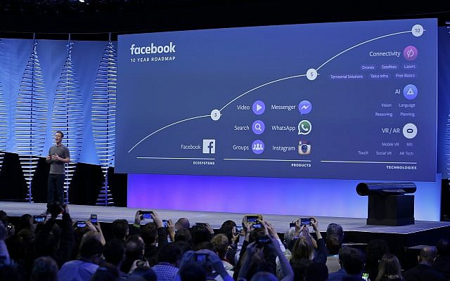 In this April 12, 2016, photo, Facebook CEO Mark Zuckerberg talks about the company's 10-year roadmap during the keynote address at the F8 Facebook Developer Conference in San Francisco. (AP Photo/Eric Risberg, File)