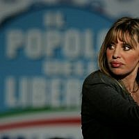 Alessandra Mussolini at the People of Freedom party electoral headquarters, in Rome, April 14, 2008. (AP Photo/Gregorio Borgia/File)