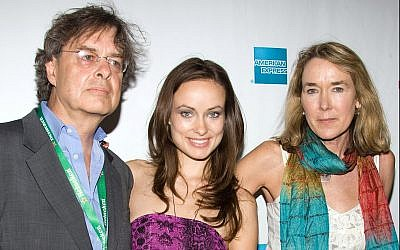 Actress Olivia Wilde and her parents, producer Andrew Cockburn and director Leslie Cockburn, arrive at the premiere of American Casino during the Tribeca Film Festival in New York, Sunday, April 26, 2009. (AP Photo/Charles Sykes)