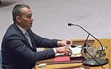 United Nations Special Coordinator for the Middle East Peace Process Nickolay Mladenov addresses a Security Council meeting on the situation in the Middle East, on March 24, 2016, at United Nations headquarters in New York. (AP Photo/Mary Altaffer)