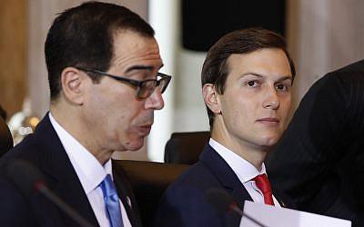 White House senior adviser Jared Kushner, right, sits next to Treasury Secretary Steven Mnuchin during the US-China Comprehensive Economic Dialogue, on July 19, 2017, at the Treasury Department in Washington. (AP Photo/Jacquelyn Martin)