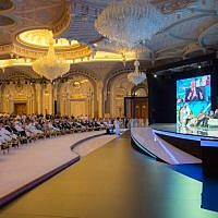 FILE -- In this photo released by Saudi Press Agency, SPA, Saudi Crown Prince Mohammed bin Salman and the others attend the opening ceremony of Future Investment Initiative Conference in Riyadh, Saudi Arabia, Tuesday, Oct. 24, 2017 (Saudi Press Agency via AP)