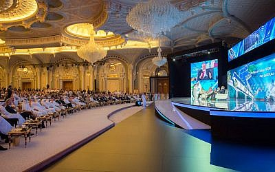 Saudi Crown Prince Mohammed bin Salman and the others attend the opening ceremony of Future Investment Initiative Conference in Riyadh, Saudi Arabia, October 24, 2017. (Saudi Press Agency via AP)