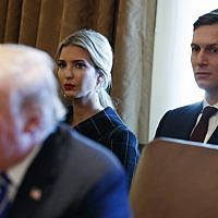 Ivanka Trump and White House senior adviser Jared Kushner listen as US President Donald Trump speaks during a cabinet meeting at the White House on November 20, 2017. (AP Photo/Evan Vucci)