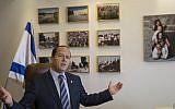 Jerusalem Mayor Nir Barkat speaks during an interview with The Associated Press in Jerusalem, February 27, 2018. (AP Photo/Tsafrir Abayov)