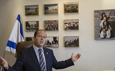 Jerusalem Mayor Nir Barkat speaks during an interview with The Associated Press in Jerusalem, February 27, 2018. (AP Photo/Tsafrir Abayov)